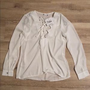 Missguided lace up blouse